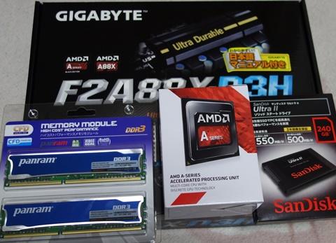 マザーボード、メモリー、APU、SSD